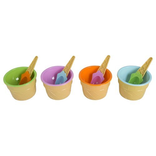 4er Set Eisbecher mit Löffel Kinder Eisform Eisschalen Dessert Becher Schale Eis - Mit Löffel Dessert-schalen