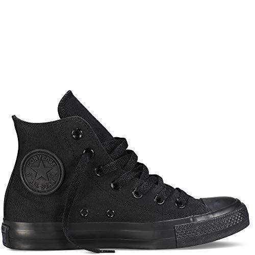 Schwarz Mono Hi Schuhe (Converse Chuck Taylor All Star High Classic CTAS Hi Damen Herren Unisex Turnschuhe Canvas Sneaker Sportschuhe mit 7kmh Aufkleber Schwarz Mono 37)