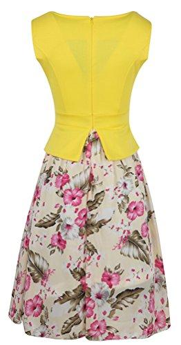 Ghope femms découpe cru fleurs de contraste robe de soirée en mousseline de soie sans manches Une ligne d'affaires Gelb