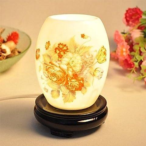 bobo Fragancia Lámpara de escritorio Tinta China Dibujo lámpara de cabecera Dimmer Interruptor Resina Base rico Flor