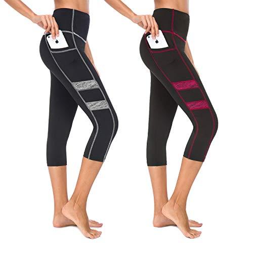 Munvot Damen Laufhose Sporthose Sport Leggings Tights - BA2043 / 2er Pack/XL (DE44-46)