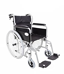 Angel Mobility Lightweight Aluminium Folding Self Propelled Wheelchair in Metallic Silver+FREE PU WHEELCHAIR CUSHION VALUE £20.