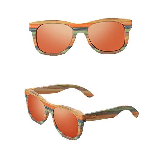 CWYPB DIY Holz Polarisierte Sonnenbrille, Männer Frauen Farbe Bambus Brille mit Geschenkbox UV400 für Reise Strand Einkaufen,D
