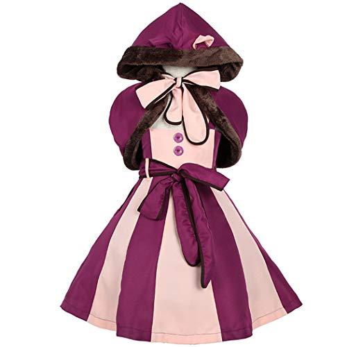 Jeff-chy Halloween Kostüm Alice Im Wunderland Kinder Lila Mädchen Cosplay Smiley Katze Fantasie Katze Niedliche (Alice Im Wunderland Kostüm Für Kleine Mädchen)