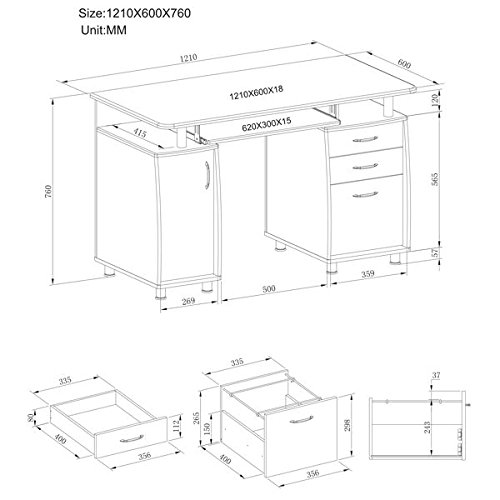 Large Computer and Writing Desk with A4 Filing, 2 Stationery Drawers and Cupboard for the Home Office in White Woodgrain - Piranha Furniture Emperor PC 2s