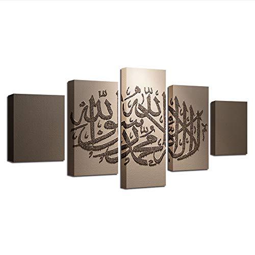 Wsxxnhh Leinwand Dekoration Bilder Malerei Wohnzimmer Islam Poster Leinwand Wandkunst Rahmen 5 Panel Muslim Modular Printed