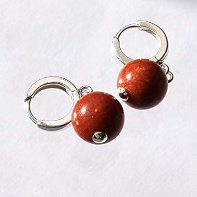Boucles d'oreilles en argent sterling 925 plaqué avec corail rouge