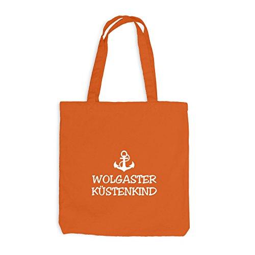 Jutebeutel - Wolgaster Küstenkind - Anker Wolgast Schiffsanker Küste Maritim Orange