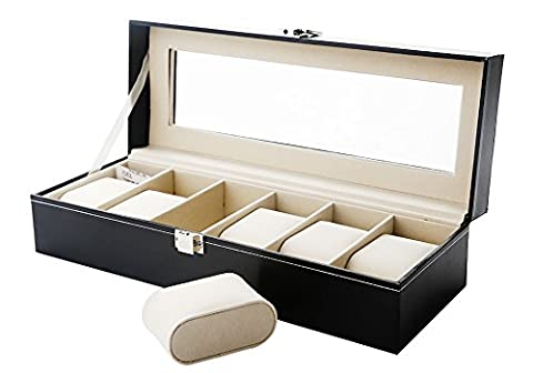 Zogin 6 Grid Watch Jewelry Display Storage Box Case Bracelet Organisers Display Boxes with Pillows