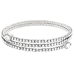 Idea Regalo - Swarovski Bracciale rigido Twisty Drop, bianco, placcatura rodio
