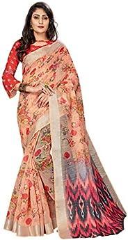 CLOTHAM Women's Banarasi Linen Saree With Unstitched Blouse Piece (Digital_Print_Saree108_Multicolo