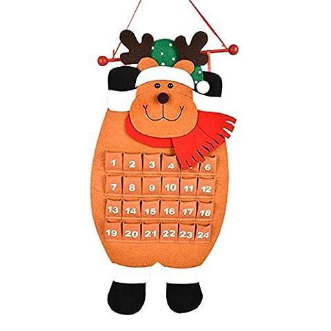 Covermason Christmas Advent Calendar Xmas Tree/Deer/Snowman/Santa Claus Countdown Calendar Hanging Ornaments (Elk)