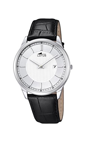 Lotus Men's Quartz Watch with White Dial Analogue Display and Black Leather Strap 10124/2