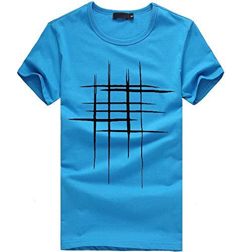 Auied T-Shirt Kurzarmshirt Sommer Oberteile Casual Basic O-Neck Print Shirt Unterhemd Vintage Crew Neck Sweatshirt Kurzarm Rundhals Basic Slim Fit ()