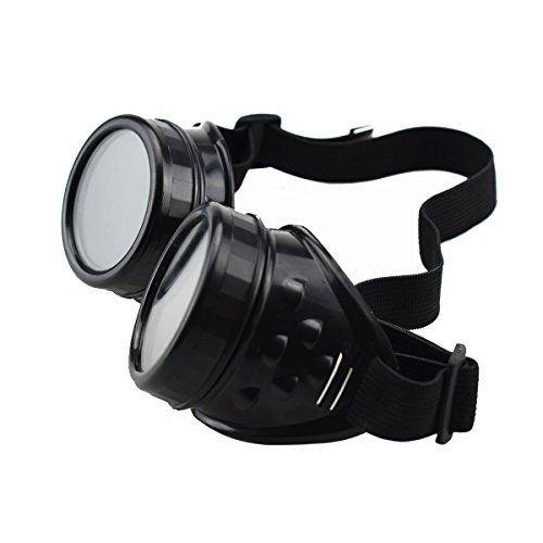 Unisex Retro Sonnenbrille Cyber Goggles Steampunk Brille Brille Schweißen Punk Gothic Brille Halloween Cosplay Vintage Victorian (schwarz)