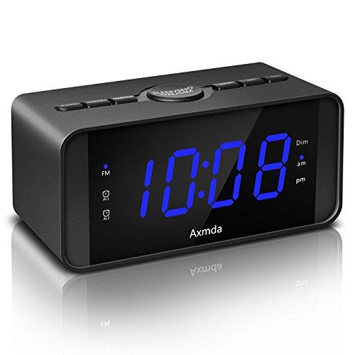 Digital Wecker, Axmda Digitalwecker mit Dual Alarm und Schlummerfunktion, Großem 4.5 Zoll LED Display, FM Radiowecker, Snooze-Funktion/Dimmer/12/24-Stunden und Batterie-Sicherung, Blau