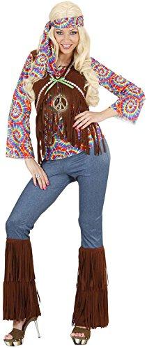 Widmann 75423 - Erwachsenenkostüm Psychedelic Hippie Frau, Shirt mit Weste, Hose, Stirnband und Kette, Größe L