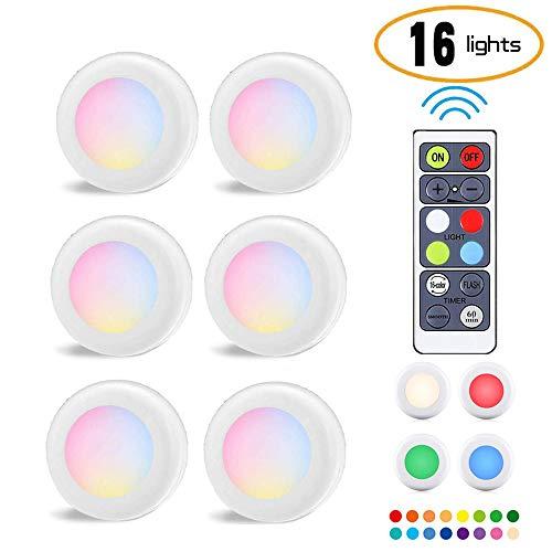 6 Pack LED Kabinett Beleuchtung Nachtlicht RGB16 Farbe Batteriebetrieben Hockey Licht Timer Dimmbar Fast Strobe Party Atmosphäre Licht Küchenschrank Thekenwand Indoor Mit Fernbedienung (6k-projektor)