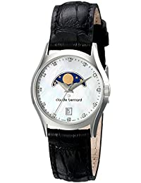 3866700b8ada Claude Bernard Women s 39010 3 NAN Classic Ladies Moon Phase Analog Display  Swiss Quartz Black Watch