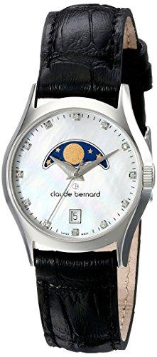 Claude Bernard Women's 39010 3 NAN Classic Ladies Moon Phase Analog Display Swiss Quartz Black Watch
