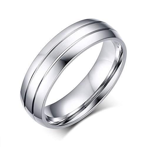 XHYYQX Ringe Silber Farbe Ring Edelstahl Band Set Glanz Verlobung Männer Liebhaber Ringe, 7, B (Hochzeit Band Ring-sizer)