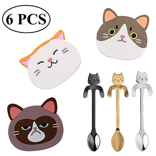 Ouinne 6 Stück Katze Silikon Untersetzer mit Katze Kaffee Löffel, Katze untersetzer Gummi Cup Becher Gummimatte mit Edelstahl Kätzchen Hängen Design Löffel