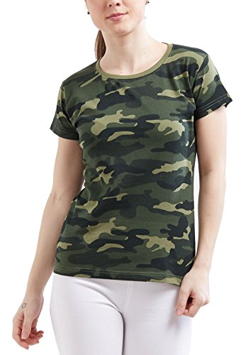 WYO Wear Your Opinion Women's Camouflage Army Short Half Sleeve Solid Plain Top T-Shirt(Medium, GreenCamo)