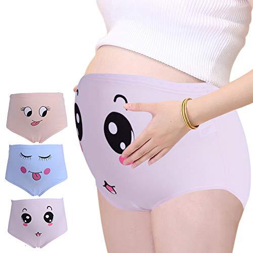 BOZEVON Schwangerschafts Unterwäsche für Damen - Baumwolle Mutterschaft Unterhosen mit Hohe Taillen Umstandsslip Umstandsmode Schlüpfer Panty 3er Pack, Rosa, Beige, Blau/XL
