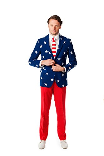 Kostüm Hogan Hollywood Hulk - Opposuits OSUI-0023-EU62 - Stars and Stripes - USA Kostüm, Größe 62, mehrfarbig