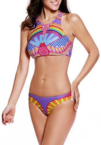 SunIfSnow Bikini - Haut et bas de maillot de bain - À Fleurs - Sans Manche - Femme Bigarré