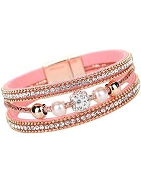 Yogogo Mehrschichtig Armreif Bracelet Kristall Perlen Leder Magnetisch Armband für Damen Frauen Mädchen