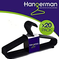 Hangerman 20 Black Plastic Coat Hangers Plastic Clothes Hanger Garment Coat Dress Skirt Adult Size Hangers with Suit Trouser Bar & Lips