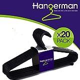 Hangerman Perchas de plástico, pack de 20unidades, ideales para cualquier tipo de ropa, color negro
