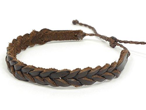 SIMARU Lederarmband Surferarmband aus hochwertigem Leder für Herren und Damen Armband perfekt als Freundschaftsarmbänder auch größenverstellbar (braun)