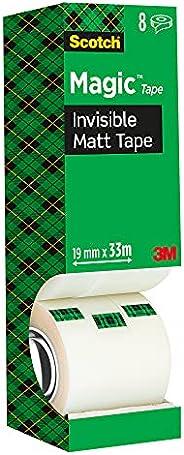 Scotch 8-1933R8 Magic Osynlig Tejp, 19 mm x 33 m, 8 Rullar