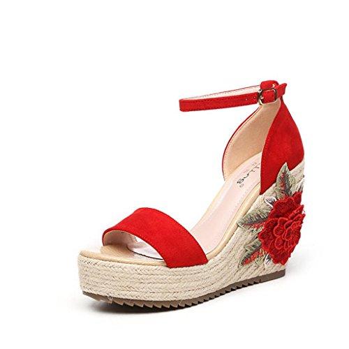 BaiLing Damen Sommer Sandalen / Wedge Heel wasserdicht / dicken Boden / böhmischen Blumen Stickerei kleine Größe Schuhe Red