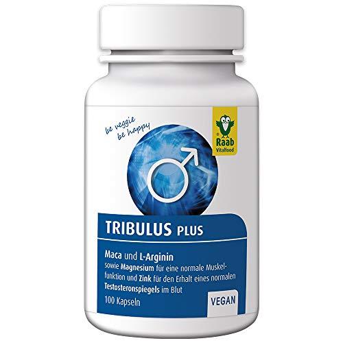 Raab Vitalfood Tribulus plus für Männer, Tribulus Terrestris, mit Maca und L-Arginin, mit Magnesium und Zink, Kapseln, laborgeprüft, 65 g - Plus L-arginin