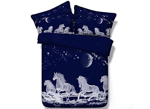 """Galaxie Parure de Lit Animal 4 Pièces Pour 1 Personne Avec Housse de Couette 88""""*90""""*1(224*229cm*1) Draps de Lit 90""""*98""""*1(229*249cm*1) Taies d'Oreiller 19""""*29""""*2(48*74cm*2) 3D Imprimé Cheval Sans Additifs-Nuisibles Lit Fantaisie Douceur d'Intérieur, Bleu foncé"""