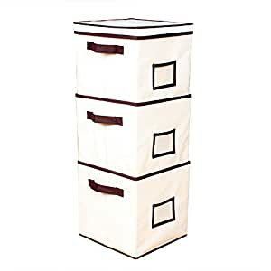 cmyk 3 st ck stoff aufbewahrungsbox 27cm x 27cm x 28cm stapelbar regalbox mit deckel und. Black Bedroom Furniture Sets. Home Design Ideas