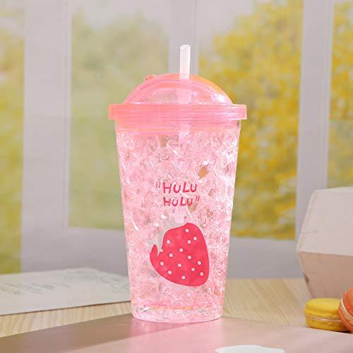 Kreative Modelle benutzerdefinierte doppelte Plastikbecher können Werbeartikel Eisbecher Hot niedlichen Cartoon Kunststoff Geschenk Tasse Erdbeere 401-500ml angepasst werden (Niedlichen Hot Modelle)