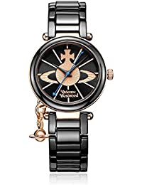 Vivienne Westwood Kensington Women's Quartz Watch with Black Dial Analogue Display and Black Ceramic Bracelet VV067RSBK