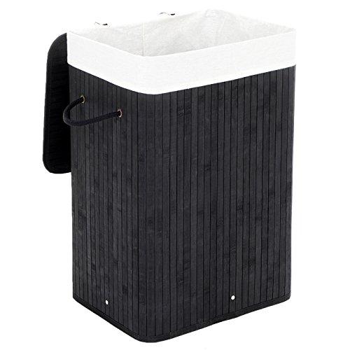 Songmics Wäschekorb Faltbar Bambus Wäschekörbe Wäschebox Wäschetruhe Wäschesammler mit Deckel un herausnehmbarem Wäschesack aus Baumwolle Schwarz LCB10B