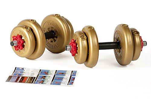 York Fitness regolabile Set di manubri in vinile con tubolare Spinlock Barre, unisex, Adjustable Vinyl, oro