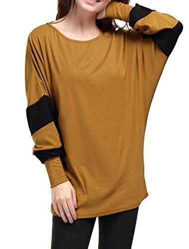 Allegra K Women's Scoop Neck Color Block Batwing Oversize Tunic Top