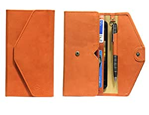 J Cover A12 Nillofer Leather Wallet Universal Phone Pouch Cover Case For LG L80 Dual Orange