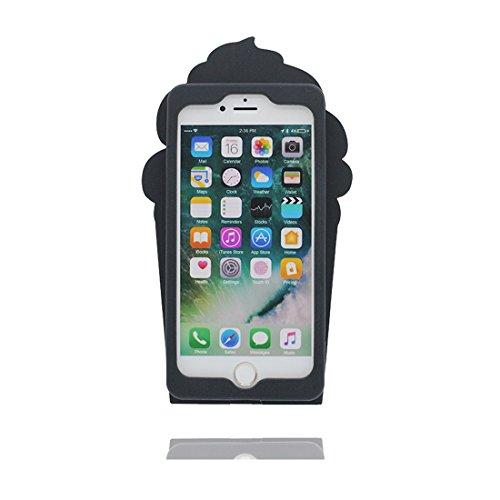 """iPhone 7 Hülle, TPU Gel Shell für Mädchen Handyhülle iPhone 7 Cover 4.7""""- Lovely 3D Cartoon Ice Cream Stripe, Anti-Schock-Kratzer Schwarz"""