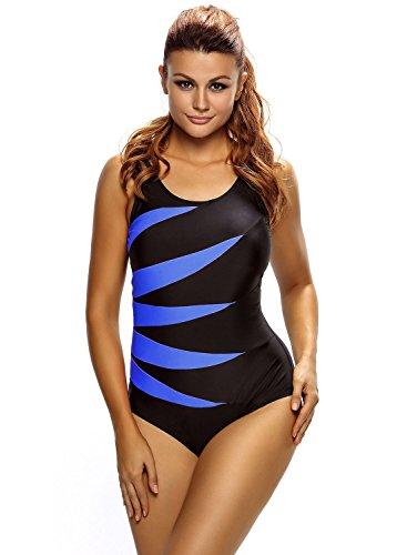 Aleumdr Damen Einteiler Wassersport Figuroptimizer Sport Gestreift Badeanzug Monokini Blau