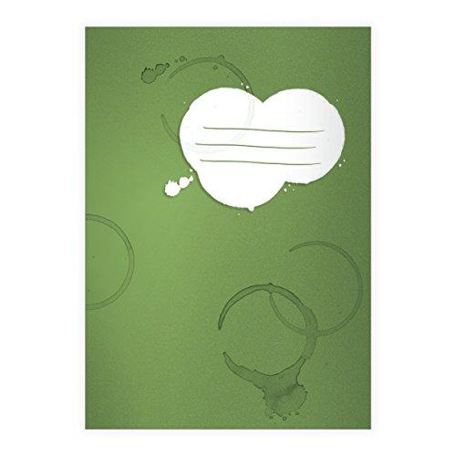 Kartenkaufrausch 2 Coole Flecken DIN A5 Schulhefte, Rechenhefte mit Kaffee Tassen Rändern auf grün Lineatur 10 (kariertes Heft)