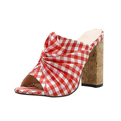 r Sandalen Bohemian Flach Sandaletten Sommer Strand Schuhe,Frauen Sommer lässig ländlichen Stil Subnetz Tuch Mode dick mit High Heels ()