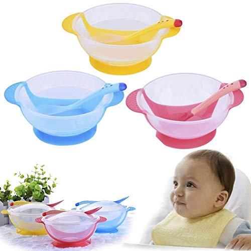 Txyk Set Pappa Ventosa di Sicurezza, Ciotola di Pappa, con Forchetta per Cucchiaio Sensibile al Calore per Bambino (Blu)